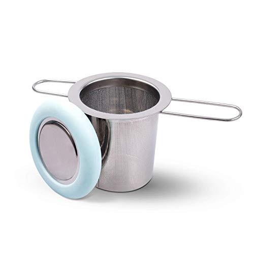 Fenshine Tea Infuser Stainless Steel Tea Strainer Folding Handle Tea Filter Extra Fine Mesh Strainer Brewing Basket with Lid for Loose Leaf Tea (Light Blue) …