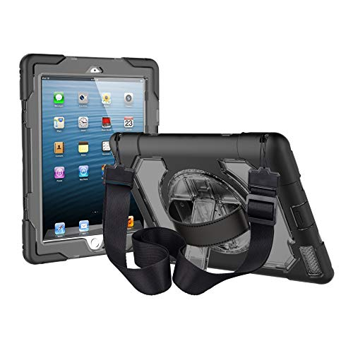 iPad 2 3 4 Case FANSONG Heavy Duty Rugged Shockproof Protective Cover with 360 Adjustable Kickstand & Shoulder Strap Kids Boys Case for iPad 2/3/4 (The Oldest Model),Black