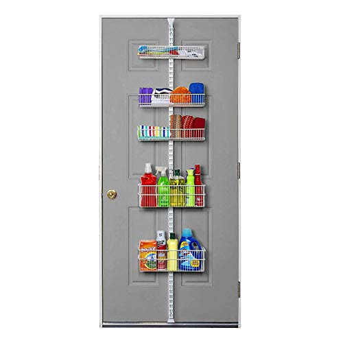 Smart Design Over The Door Adjustable Pantry Organizer Rack w/ 6 Adjustable Shelves - Steel Metal - Hanging - Wall Mount - Cans, Spice, Storage, Closet - Kitchen [White]