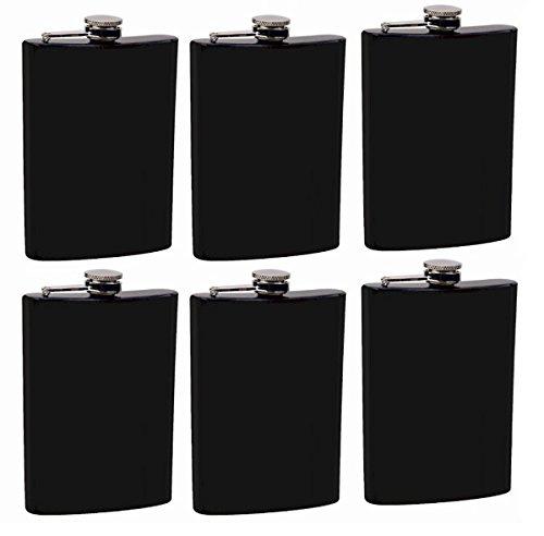 Gifts Infinity Set of 6 8oz Black Stainless Steel Groomsman, Bridesmaid Flask