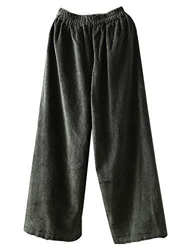 Mallimoda Damen Cordhose Weite Bein Lange Hose Elastische Taille Freizeithose mit Seitentaschen Grün XXL