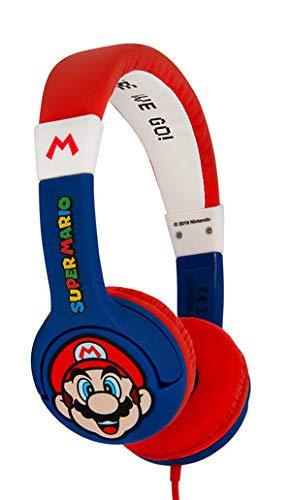 OTL Technologies JUNIOR Kinder Kopfhörer Super Mario Nintendo (gepolsterte Bügel, Lautstärke Begrenzung auf 85 dB, buntes Comic Design, für Jungen und Mädchen), Blau/Rot