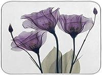 乾燥マット キッチンディッシュ乾燥マットチューリップ紫色の花花紫色の吸収性の洗える皿の乾燥パッドの排水路カップパン (Size : 18x24in)