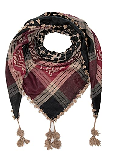 Arab Shemagh Keffiyeh Middle Eastern Head Scarf Neck Wrap Traditional Culture Cotton Unisex (Maroon & Beige)