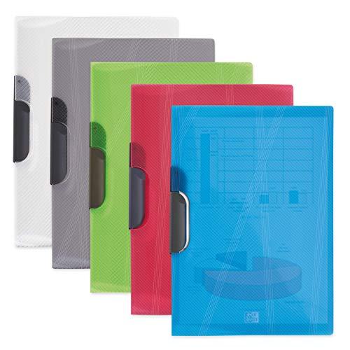 Elba 100201285 - Caja de 12 dossiers con pinza pivotante, plástico translúcido