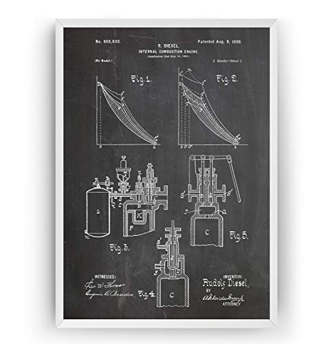 Diesel Internal Combustion Engine Patent 1891 Poster Prints Art - Page 1 - Engineer Gift Mechanic Merchandise Print Vintage Old Original Blueprint Collector Wall Decor - Frame Not Included