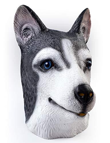 MeijieM Máscara de Cabeza Animal de Perros de Husky, Máscara de Látex de Halloween de Fiesta
