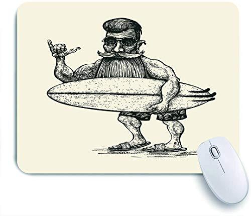 QINCO Gaming Mouse Pad Rutschfeste Gummibasis,Hipster Surfer Bart Schnurrbart Sonnenbrille und Surfbrett Gravur Linolschnitt Mann,für Computer Laptop Office Desk,240 x 200mm