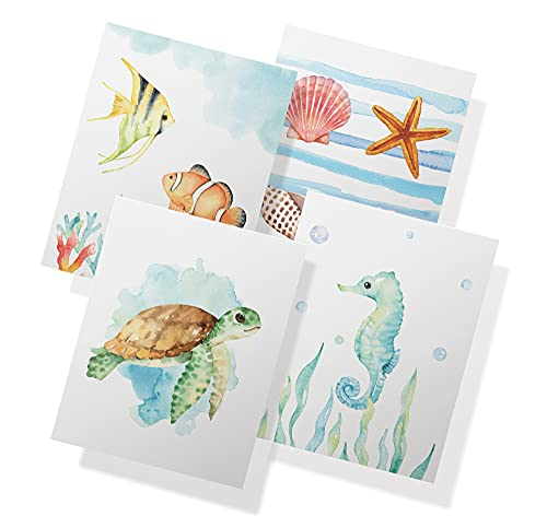 Twigs Paper - Ocean Themed Note Cards - Set of 12 Blank Cards (5.5 x 4.25 Inch) with 12 Envelopes - 100% EcoFriendly Stationery - Made in USA (4 Designs, 12 Cards Total)