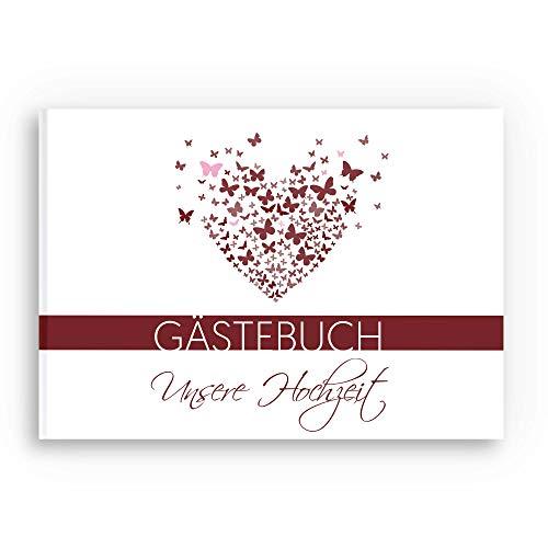 bigdaygraphix Gästebuch Hochzeit ohne Fragen - DIN A4 quer - Hochzeitsbuch 104 Leere Seiten | Hochzeitsgästebuch blanko Schmetterling Bordeaux