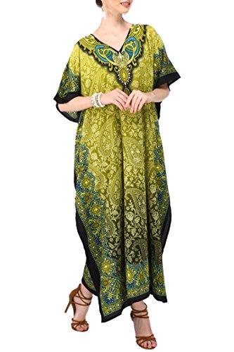 Women Kaftan Tunic Kimono Free Size Long Maxi Party Dress for Loungewear Holidays Nightwear Dresses #103 (One Size, Green)