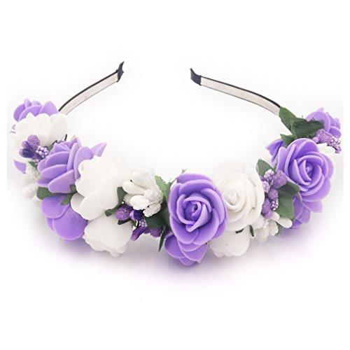 Yazilind Elegante Schmuck Krone Kranz Stirnband Künstliche Blume Lila Weiße Pflaume Blüte Staubblätter Stilvolle dekoriert Haar Zubehör Hochzeitsparty Kopfschmuck für Frauen Mädchen