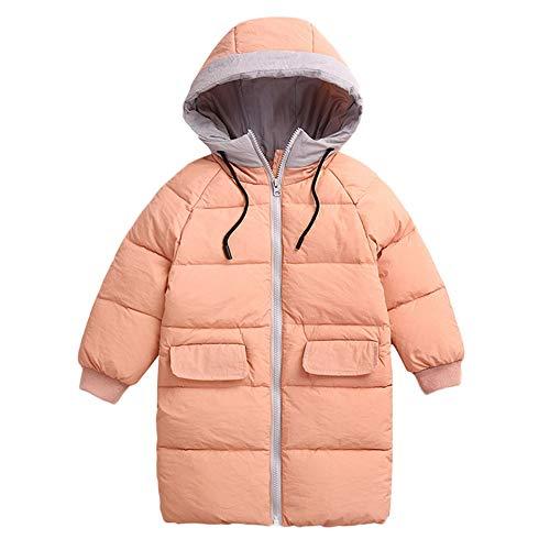 Kobay Kobay Kinder Mädchen Jungen Baby Winter Mäntel Verdickt Kapuzen Kordelzug Colorblock Pocket Baumwolle Jacke(3-4T,Rosa)