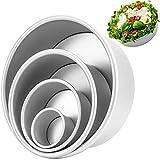 Senbos Molde Redondos para Tartas, Aluminio 4 Piezas (4/6/8/10 Pulgadas) Moldes para Pasteles, Antiadherentes Moldes para Hornear a Prueba de Fugas Lata para Tartas de Queso para Cumpleaños, Bodas