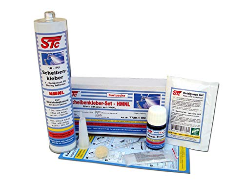 STC Scheibenkleber HMNL Set 310 ml Kartusche inkl. Zubehör zum Einbau von Windschutzscheiben Heckscheiben Scheibenreparatur
