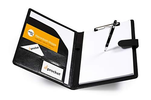 perfect line DIN-A4 Klemm-Brett-Mappe in Leder-Optik, Dokumenten-Tasche in schwarz, Schreib-Mappe mit Magnet-Verschluss, Konferenz-Register mit 4 Fächern & Klemme, Optimal als Kladde & Organizer