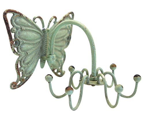 NIKKY HOME Shabby Chic Pewter Butterfly Shape Rotatable Jewellery Wall Necklace Hanger Hooks Home Decor, Green