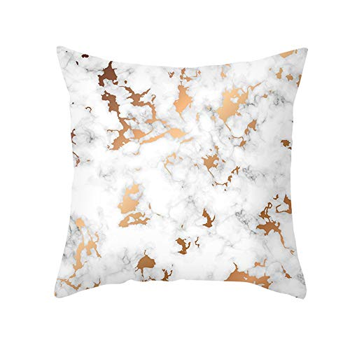 Cushion Cover Throw Pillow Covers Set Marble Cyan Gold For Home Sofa Bedroom Bed Car Livingroom Couch Decorative,Cozy Cotton Linen Washable Christmas Indoor & Outdoor C9584 60X60Cm
