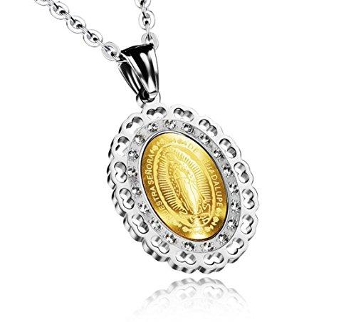Medalla Milagrosa de Acero Inoxidable Virgen María María Oval Collar Colgante con Madre de la Perla