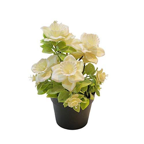Clenp Dekorative Künstliche Blumen - Künstliche Begonie Blumenpflanze Topf Bonsai Garten Home Tisch Partyraum Dekor Champagner Artificial Flower Bonsai