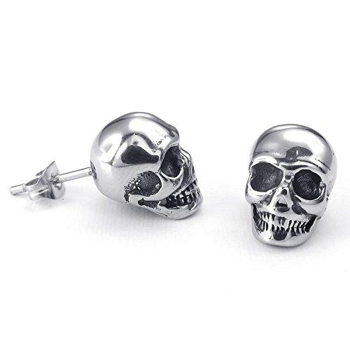 KONOV Joyería Pendientes de hombre, Gótico Calavera Cráneo Semental, Acero inoxidable, Color negro plata (con bolsa de regalo)