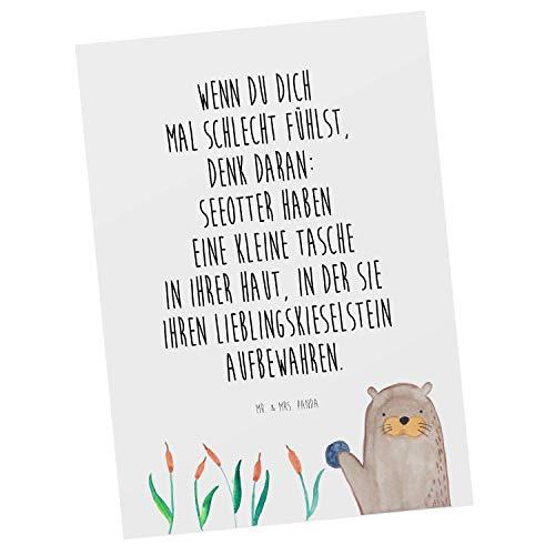 Mr. & Mrs. Panda Einladung, Ansichtskarte, Postkarte Otter mit Stein mit Spruch - Farbe Weiß