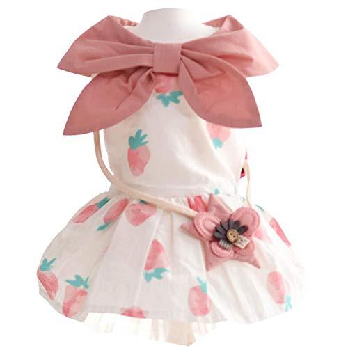 XPC-Pet Clothes huisdierjurk, roze met aardbeiopdruk, rokken, zomerjurk gemaakt van zacht katoen voor kleine honden, doggie pup