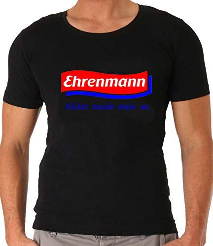Ehrenmann | Funshirt, Sprücheshirt, Partyshirt | Unisex | Geschenk, Gag | Herren, Männer, Boy Shirt | Schwarz, Weiss, Grau | Gr. S-5XL (XL, Schwarz)