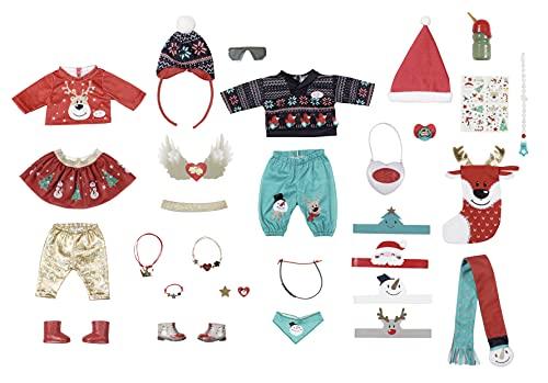 Zapf Creation 830260 BABY born Adventskalender - Puppenadventskalender mit 24 Überaschungen bestehend aus Kleidungsstücken und Accessoires für BABY born
