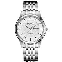 CALUOLA Quartz Watchカジュアル腕時計メンズのday-date Steel Watch ca1187gl 1187-SS-white