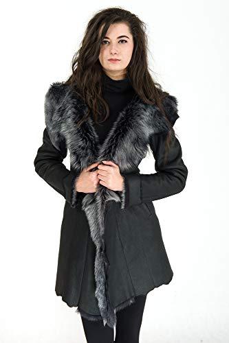 Grácia 42 - Abrigo de piel de cordero con capucha, color negro
