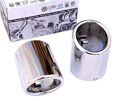 Skoda Original Auspuff Endrohrblenden edelstahl Auspuffblenden 60mm Doppelendrohr Blende poliert