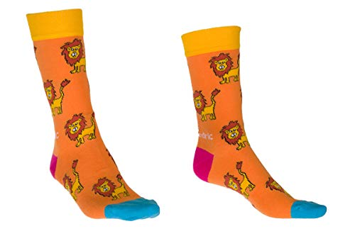 Joan und Fredric Design Socks with Lion Illustrations - Fun Orange Fashion Socks with Lion Animations (41-46)