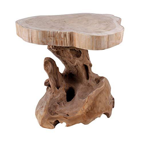 Massiv Holz Wurzelholz Teak Beistelltisch Couchtisch Sofatisch Hocker Blumenhocker Ø40xH46cm