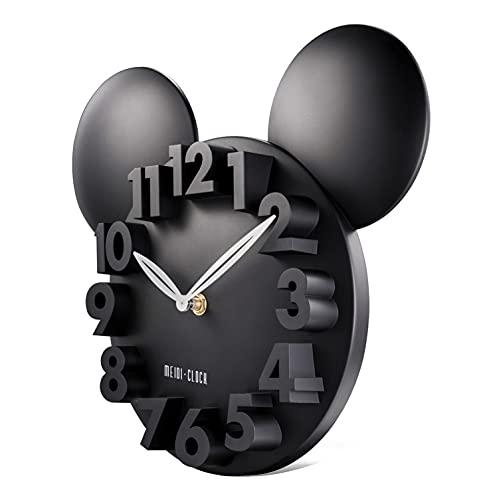 Lafocuse Schwarz 3D Ziffern Maus Wanduhr Kinder Lustige Quarzuhr Deko für Kinderzimmer Teenager Zimmer 32x28x5cm