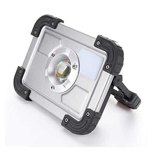 JJSCCMDZ Luz de Camping Reflector LED 20W USB Flootlight LED LED Spotlight 18650 Batería Recargable Portátil Portátil LED LED Camping (Emitting Color : Sliver, Wattage : 20W)