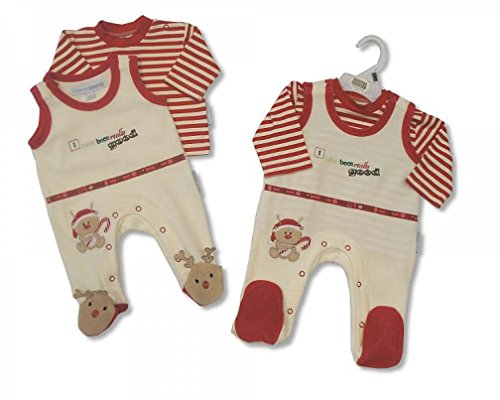 2 Piece Baby Christmas Santa Reindeer Outfit Clothes Gift Red/Cream - Newborn