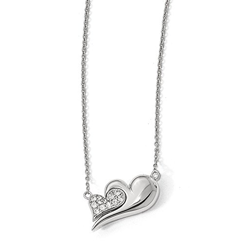 Sterling Silver Cr. White Sapphire Magnetic Double Heart 22in Necklace