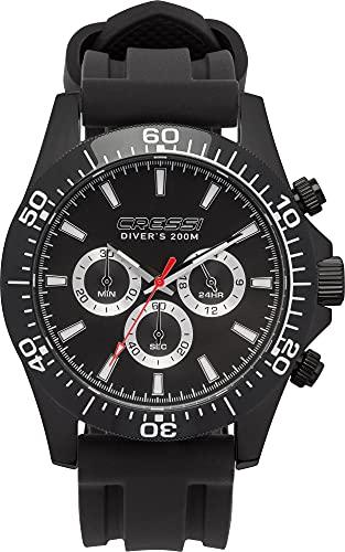 Cressi Nereus Watch Reloj Cronógrafo Submarino Profesional 200 m / 20 ATM, Unisex-Adult, Negro, Un tamaño