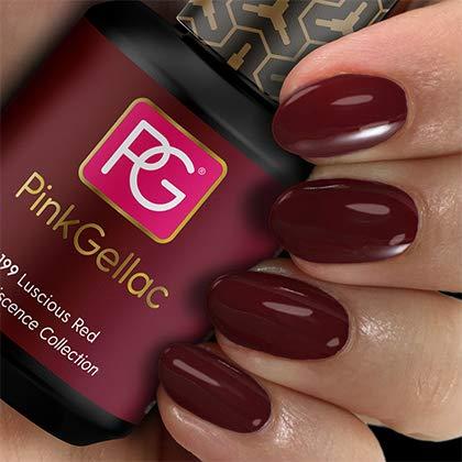 Color de pintauñas permanente Pink Gellac 199 Luscious Red . Esmalte de gel, calidad profesional y fácil aplicación en casa. Esmaltes de uñas.