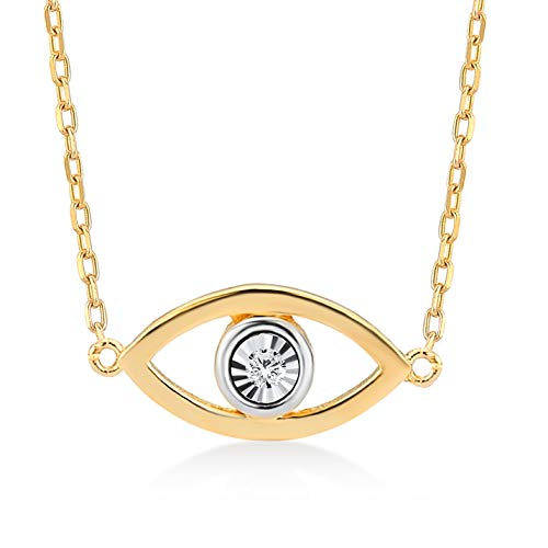 Collar de oro amarillo 585 de 14 quilates para mujer y niña, con colgante de ojo de oro, cadena de 45 cm