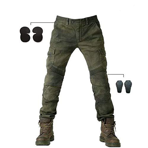 Alpha Rider Motorradhose Herren Jeans Textil Motorrad Hose mit Protektoren Armee Grün XL