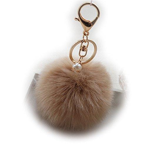 Glänzende Krone, flauschiger Ball, Autoschlüsselanhänger, Schlüsselanhänger für Frauen, Pompom, Handtaschen-Anhänger, Perle, Kunstfell Metall Legierung, Hell Kaffee Gold Schnalle