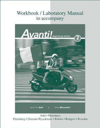 Workbook / Laboratory Manual to Accompany Avanti! Beginning Italian, 2nd Edition