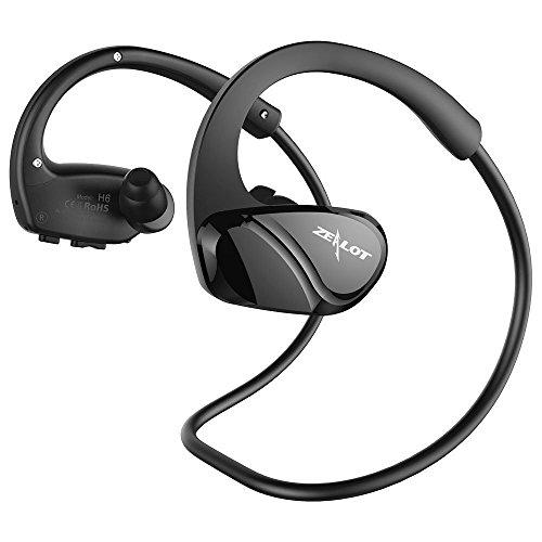ZEALOT Auricolari Bluetooth Sport Resistenti al Sudore Cuffie Wireless Stereo Headset Portatile in Ear con Microfono per iPhone/Huawei/Samsung,ECC-Nero