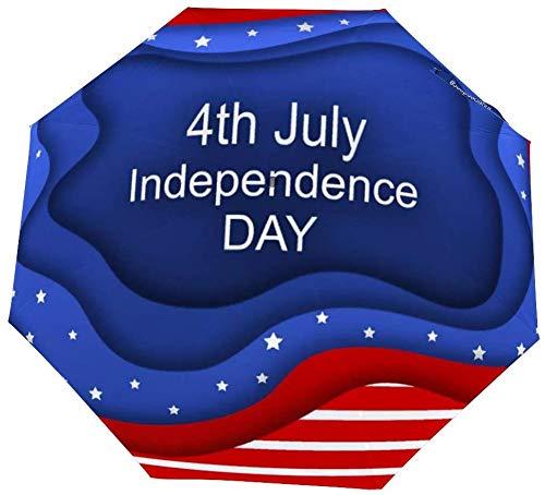 Faltbarer Regenschirm Einladungskarte für den 4. Juli Unabhängigkeitstag des Schirms öffnen schließen Winddicht Regenschirm leicht kompakt Outdoor Regenschirme Sonne & Regen
