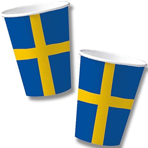 DH-Konzept 10 Becher * SCHWEDEN * für Mottoparty, Länderparty und Geburtstag Sweden Skandinavien Pappbecher Partybecher Kinder Geburtstag Party Set
