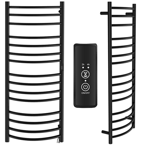BBEE.TECH Towel Warmer 15 Bar Electric Heated Towel Rack Wall Mount Plug-in/Hardwired Curved Heated Towel Rail Black