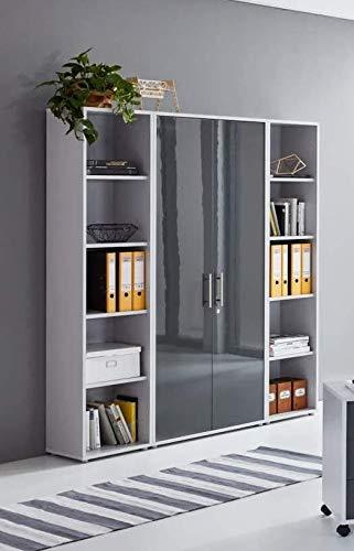 abschliessbarer Aktenschrank Büroschrank Schrankwand Büromöbel Regal Office Edition in Lichtgrau/Anthrazit Hochglanz (Set 3 hoch)
