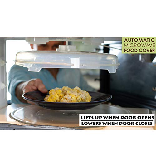 Coralpearl Automatic Microwave Plate Cover Magnetic, Stays Inside Up Down, Hover Function Food Spatter Dome, Vented Anti Splatter Guard Lid with Steam Vents Magnets, 12 Inch BPA Free Dishwasher Safe